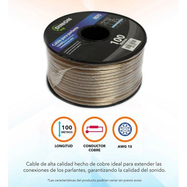 Rollo de Cable para Parlante 100mts 18AWG Cobre