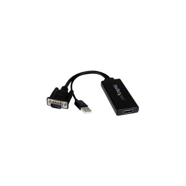 Cable Conversor VGA a HDMI con Audio USB y Alimentación Cable Convertidor Móvil de HD15 a HDMI - 1080p