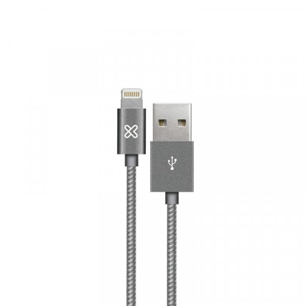 Cable KlipX Lightning Tejido Iphone 100Cm color Gris