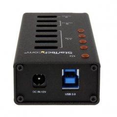 Adaptador Startech Hub USB 3.0 de 4 Puertos y 3 Puertos de Carga USB ( 2x 1A y 1x 2A)