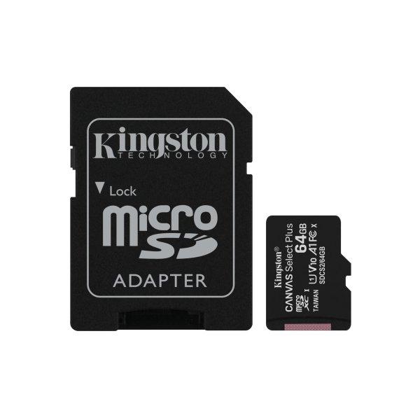 Memoria MicroSDXC Kingston 64GB Canvas Select Plus 100R/85R, Class 10