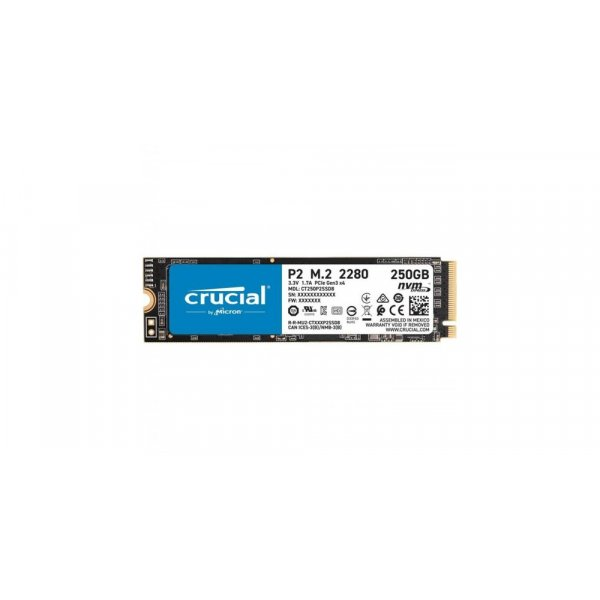 Disco Duro SSD 250GB Crucial P2 PCIe NVMe Gen 3 Lectura 2.100MB/s Escritura 1.150MB/s
