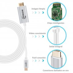Cable USB-C 3.1 a HDMI 4k 3 mts Conector Metálico Gris