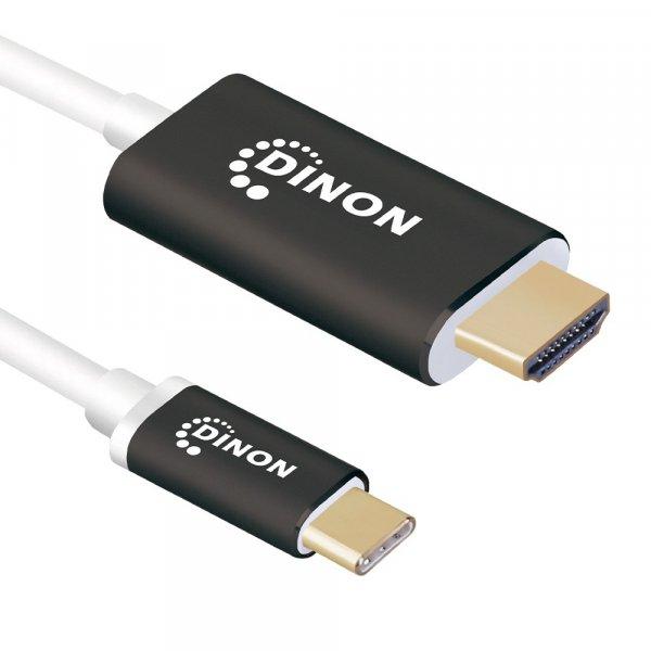 Cable USB-C 3.1 a HDMI 4k 3 mts Conector Metálico Negro